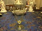 Antique Yellow Depression Glass Stem Goblet Etched Flowers, 10 ounce