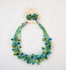 "Bead Necklace & Earring Set Blue & Green Orion NWT 17 Inches & 3"" Extender Chain"