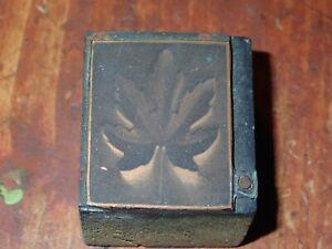 Antique Engraved Copper Printing Plate Block Leaf Postage Stamp
