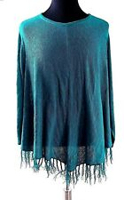 Catherines Plus Size 3X Fringed Green Tunic Top Knit Long Sleeve Shirt VHem Line
