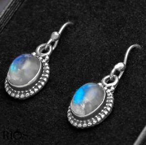 925 Sterling Silver Moonstone Ear Drop Dangle Earrings Hook Oval Studs Gift Box