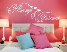 Always and Forever Quote with Hearts - highest quality wall decal stickers