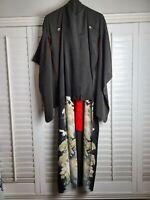 Vintage Kimono Traditonal Japanese Jacket Robe Geisha Black Red Lined Birds