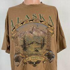 Alaska Last Frontier Single Stitch T Shirt Vtg 90s Prairie Mountain Made USA XL