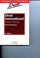 Michel Bélanger Droit international 4°E 1995 Problèmes Exercices Corrigés LGDJ