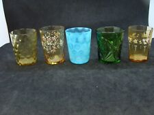 EAPG   5 Colored Glass Child's Tumblers