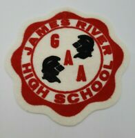 James River Knights High School 1970's Vintage Red Black White Felt Patch GAA