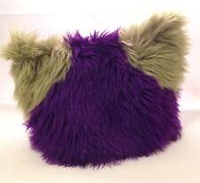 Pussy Cat Hat Kitty Cap Furry Ears Purple & Green Fur Silver Earring Squeaker