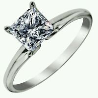 SOLITAIRE ENGAGEMENT 1 CARAT BRILLIANT PRINCESS CUT RING SOLID 14K WHITE  GOLD