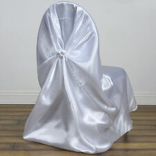 White SATIN UNIVERSAL Pillowcase CHAIR COVERS Wedding Party Reception SALE