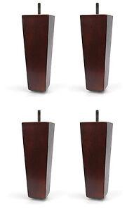 "6"" Dark Walnut Tapered Pyramid Sofa/Couch/Chair Wood Legs - Set of 4"