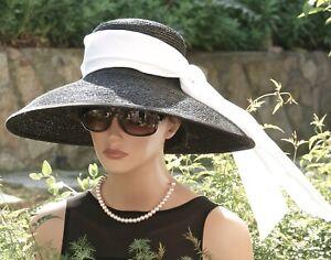 Women's Ladies Formal Hat Wide Brim Breakfast At Tiffany's Hat Audrey Hepburn