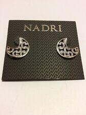 $50 Nadri Pave Silver  Tone Cresent Moon Stud Earrings  #120