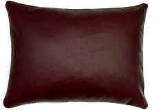 Full Grain Leather Maroon Lumbar Pillow Cover Only Or With Cushion Couch Decor