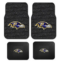 New 4pc Set NFL Baltimore Ravens Car Truck Rubber Vinyl Floor Mats