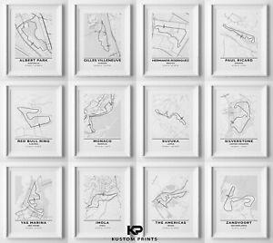 Formula 1 Circuit Poster F1 Race Tracks Print Racing Car Maps Picture Grand Prix