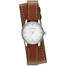 Burberry The Utilitarian White Dial Brown Leather Double Wrap Watch BU7848