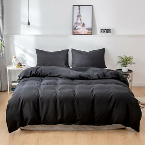 Solid Color 2/3Pcs Bedding Set Luxury Duvet Cover Set Soft and Breathable Home