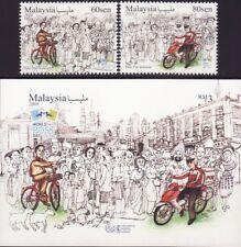 Malaysia 2018 World Post Day set+M/S MNH fauna UPU bicycle motorcycle chicken