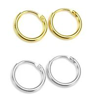 925 Sterling Silver & 14CT Gold Plated Pair of Hoop Sleeper Earrings 8mm-16mm