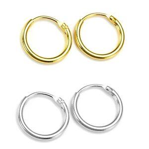 925 Sterling Silver & 14CT Gold Plated Pair of Hoop Sleeper Earrings 8mm-16mm