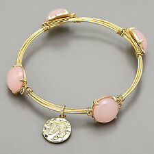 Gold  Wrapped Pink Opal Bangle Bracelet R Initial