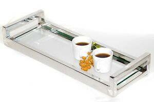 Siti Mirror Pollished Stainless Steel Tray With With Clear Tempered Glass