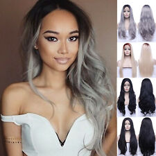 """26"""" Long Wavy Lace Front Wig Synthetic Black Heat Resistant Full Wigs For Women"""