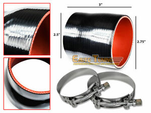 """2.75"""" To 2.5"""" Silicone Intercooler Pipe Coupler BLACK +T-Bolt Clamp For Daewoo"""
