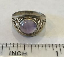 Antique Chinese Sterling Silver Amethyst Cabochon Filigree Ring