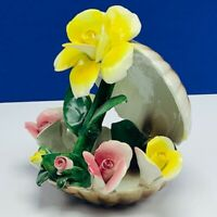 Capodimonte porcelain flower sculpture Italy figurine vtg seashell clam shell