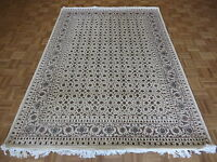 5 x 8 Hand Knotted Ivory Fine Herati Tabrez Oriental Rug With Silk G4221