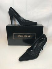 "Colin Stuart Black Leather High Heel Shoes Size 5 3 1/4"" Heel Free US Shipping"