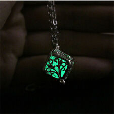 Green Hollow Tree Of Life  Luminous Glow In The Dark Locket Pendant Necklace New