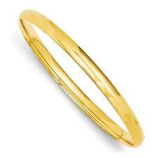 14k Solid Yellow Gold 3/16 High Polished Hinged Bangle Bracelet