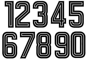 Felt 1970's 80's Football SHORTS 10cm FRONT Soccer Numbers Heat Print Football