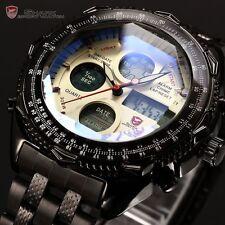 SHARK Mens LCD Digital Stopwatch Stainless Steel Date Quartz Sport Wrist Watch