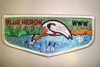 OA BLUE HERON LODGE 349 TIDEWATER COUNCIL PATCH WHITE BODY SERVICE FLAP