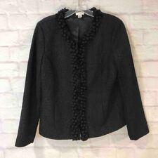 Chicos Women's Jacket Black Animal Print Stretch  Long Sleeve Blazer 1 M / 8
