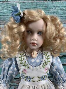 "Helen KISH 14"" Porcelain Doll Blond Curly Hair Blue Eyes Cameo"