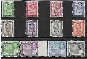 SOMALILAND PROTECTORATE 1938 SET (12) MH. SG. 93 - 104.  (2180)