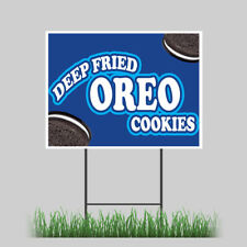 """18""""x24"""" Deep Fried Oreo Yard Sign Candy Cookie Concession Stand Sign"""