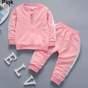 Baby Kid Toddler Boy Girl Top+Pants Outfit Tracksuit Sport Coat Clothes Set Suit