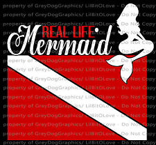 Real Life Mermaid Dive Flag Red & White Decal Sticker Diving Diver