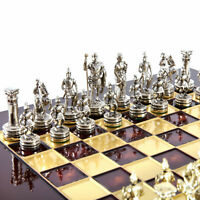 Manopoulos Greek Roman Army Chess Set - Brass&Nickel - Red chess Board