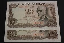 SPAIN 1970 100 PESETAS PAREJA CORRELATIVA MANUEL DE FALLA BANKNOTES SERIE A UNC