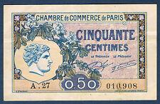 FRANCE - PARIS 50 centimes Pirot n° 31 du 10 mars 1920 en TTB A.27 010,908