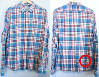 J Crew Slim Fit Flannel Shirt Men's Large Plaid Cotton 92937 HOLE NEEDS REPAIR