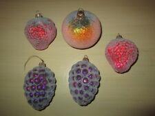 Lot of 5 Krebs Glas Lauscha Fruit Shaped Christmas Glass Ornaments Made Germany