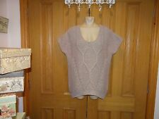 Oasis Jumper with Aran Style Pattern Short Sleeves Dusky Pink Size Large New